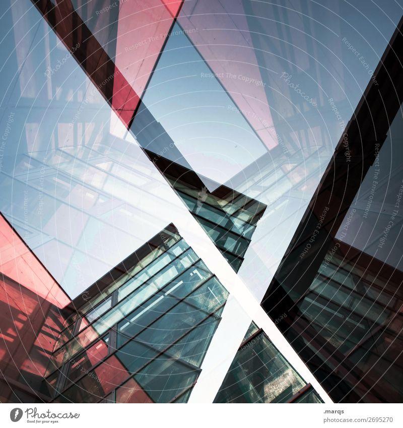 Architekturpuzzle Stil Design Haus Wolkenloser Himmel Bankgebäude Bauwerk Gebäude Fassade Fenster außergewöhnlich Coolness trendy hoch modern neu verrückt blau