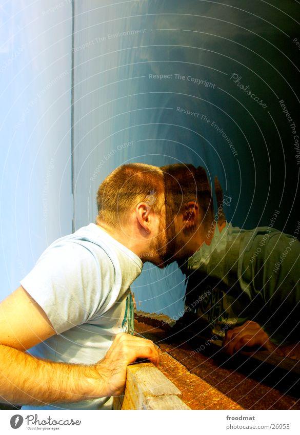 Wasserspiegel Himmel Mann blau Hand Sommer Meer Gesicht Liebe kalt Holz Kopf Haare & Frisuren Erde See lustig