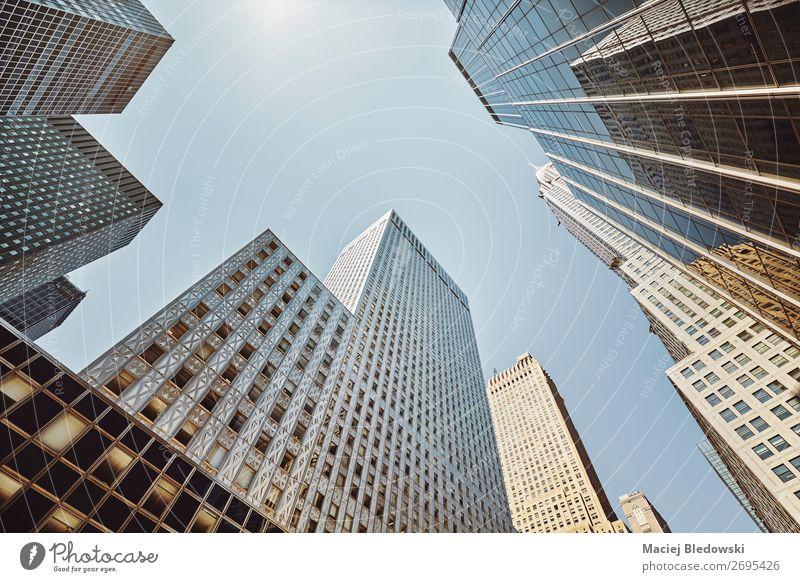 Blick auf die New Yorker Wolkenkratzer, USA. Ferien & Urlaub & Reisen Sightseeing Städtereise Sonne Häusliches Leben Wohnung Arbeit & Erwerbstätigkeit Büro