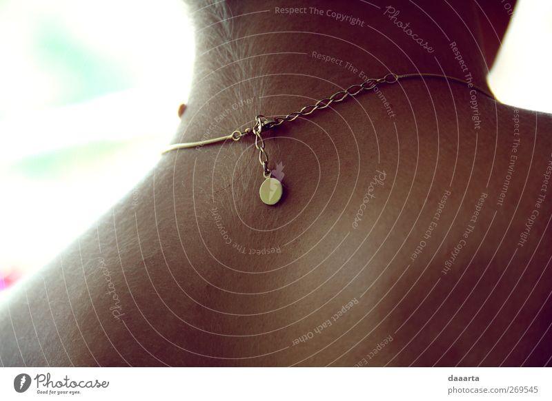 Mensch Jugendliche schön Erwachsene Liebe feminin Erotik Freiheit Glück träumen Gesundheit Junge Frau Rücken glänzend Gold Haut