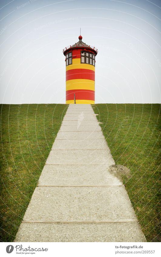 Pilsumer Leuchtturm (ohne Otto) Himmel Natur Ferien & Urlaub & Reisen rot Sommer Ferne Umwelt gelb Landschaft Gras Frühling Wege & Pfade Küste Gebäude Ausflug