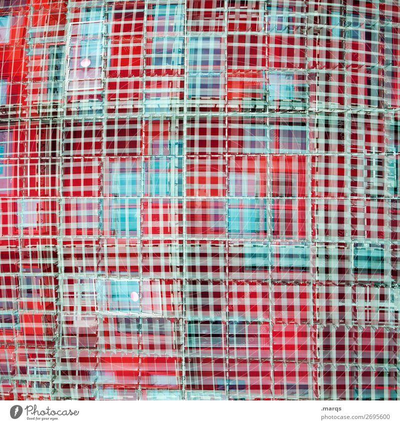 Raster Stil Architektur Fassade Fenster Metall Kunststoff Linie außergewöhnlich trendy einzigartig modern verrückt blau grau rot Farbe Perspektive Zukunft