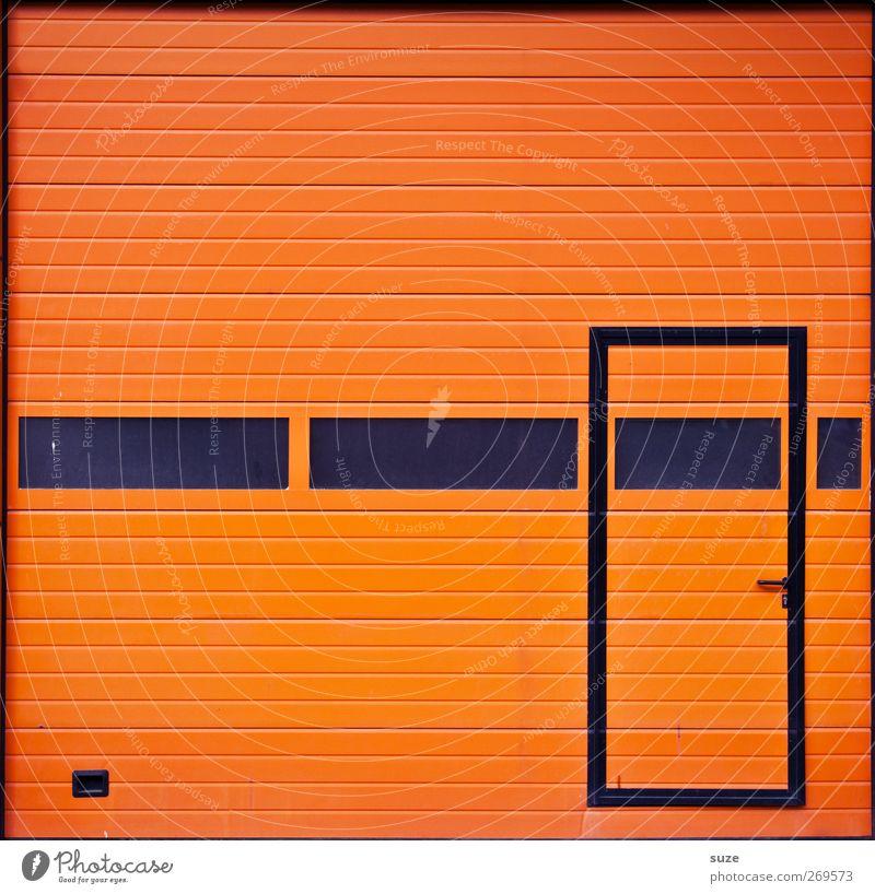 Hollandgrün Arbeitsplatz Industrie Handel Tor Tür Streifen einfach orange schwarz Eingang Garage Rolltor graphisch Türrahmen Linie Fenster Lamelle Warnfarbe