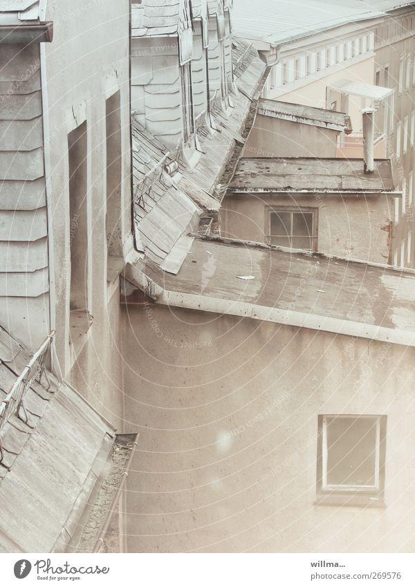 hinterhofcharme alt Stadt Haus Fenster Architektur grau braun Fassade Häusliches Leben Dach neu trist Vergänglichkeit Verfall Hinterhof Dachrinne