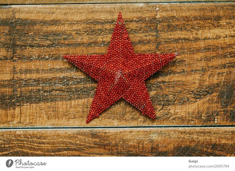Leuchtend roter Stern zur Dekoration Winter Dekoration & Verzierung Feste & Feiern Weihnachten & Advent Holz Ornament glänzend hell neu weiß Farbe Tradition
