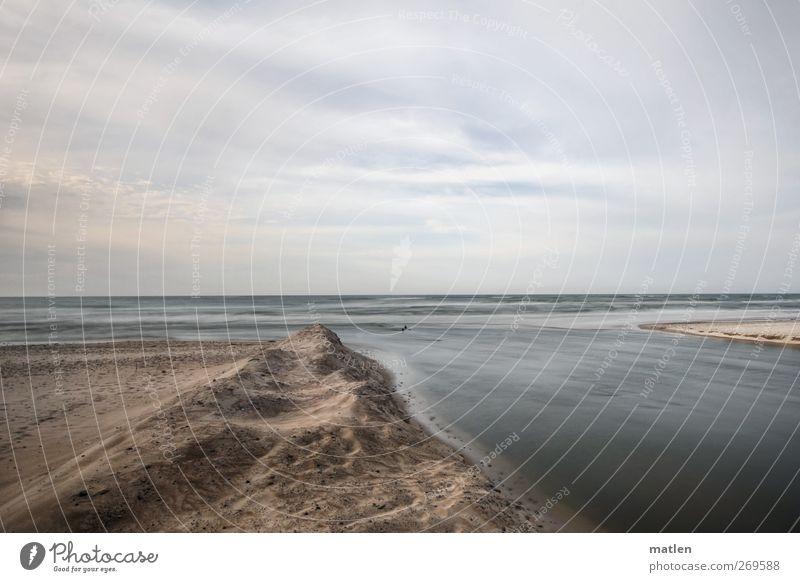 outlet Landschaft Himmel Wolken Horizont Frühling Wetter Küste Flussufer Strand Meer Menschenleer blau braun grau fließen Flußmündung Sandstrand Einsamkeit