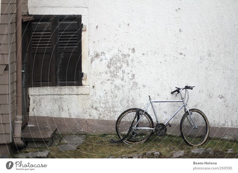 Der Zahn der Zeit Haus Fenster Wand grau Mauer Fahrrad Fassade kaputt verfallen Verfall schäbig Fensterladen platt Reifenpanne schrottreif