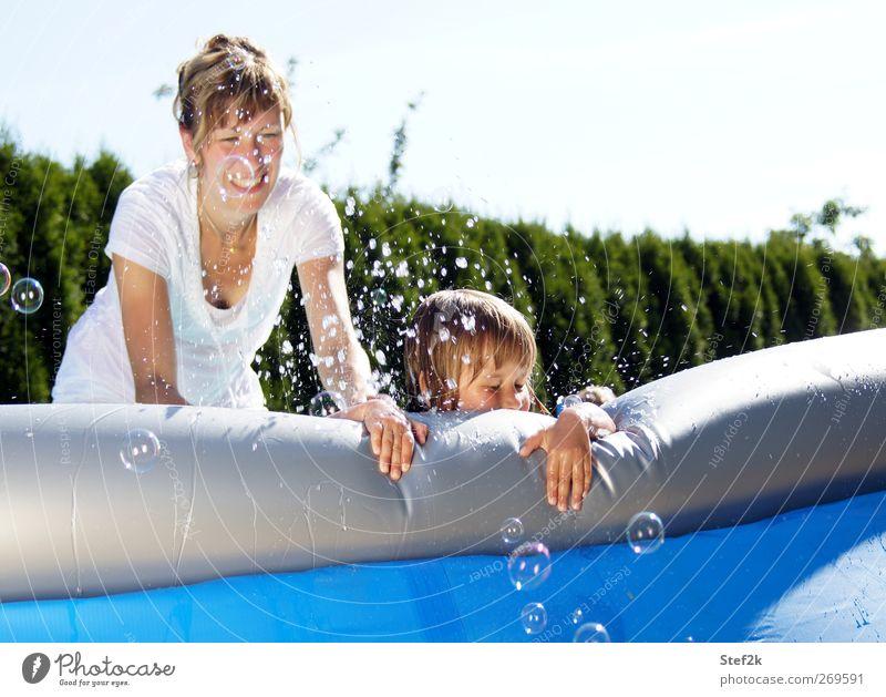 family pool action Freude Sommer feminin Mädchen Junge Frau Jugendliche Mutter Erwachsene Familie & Verwandtschaft Leben 2 Mensch 3-8 Jahre Kind Kindheit
