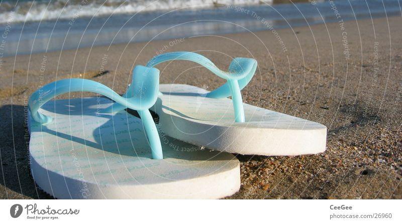 Flipflops weiß Meer blau Strand Sand Schuhe Freizeit & Hobby Dinge Spanien Schlappen