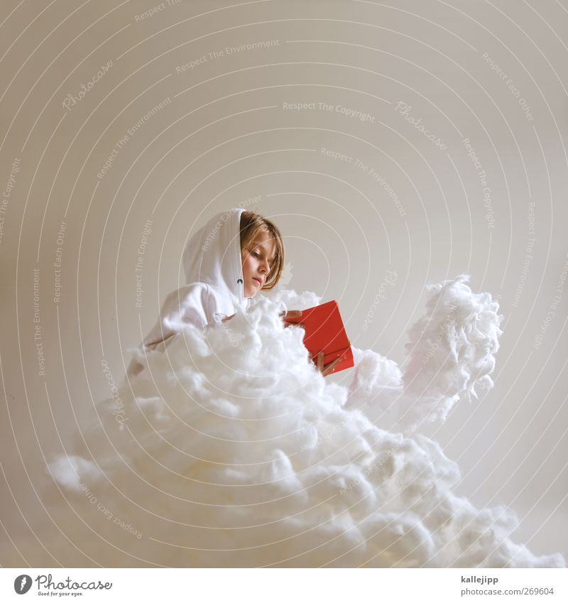 frau holle Kindererziehung Bildung lernen Mensch feminin Mädchen Kindheit Leben Kopf 1 Himmel Wolken Wetter Pullover lesen sitzen träumen Buch rot