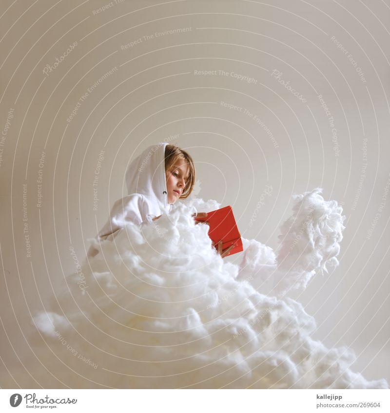 frau holle Mensch Kind Himmel Weihnachten & Advent rot Mädchen Wolken Leben feminin Kopf träumen Wetter Kindheit sitzen Buch lernen