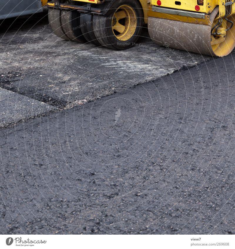 Walzen ruhig gelb Straße Wege & Pfade Ordnung groß Verkehr modern authentisch Pause Baustelle Güterverkehr & Logistik Asphalt Dienstleistungsgewerbe