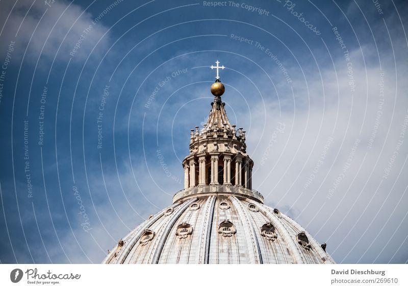 Rom/Petersdom III Himmel Wolken Schönes Wetter Kirche Dom Sehenswürdigkeit Wahrzeichen blau weiß Kuppeldach Religion & Glaube Christliches Kreuz alt historisch
