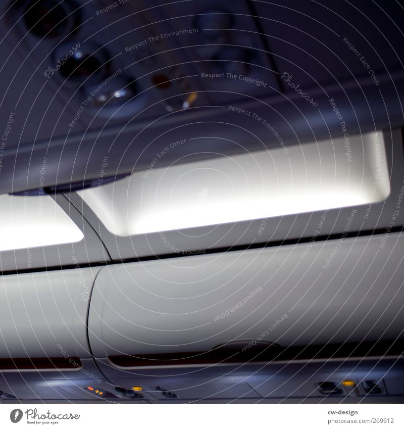 Economy Class dunkel kalt grau fliegen Ordnung Verkehr Flugzeug Luftverkehr Hilfsbereitschaft Technik & Technologie Schutz Dienstleistungsgewerbe Fürsorge Verkehrsmittel Passagierflugzeug im Flugzeug