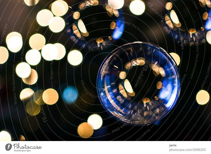 lichter Glas glänzend leuchten schön geduldig ruhig Kugel Weihnachten & Advent Christbaumkugel blau gelb Farbfoto Innenaufnahme Nahaufnahme Menschenleer