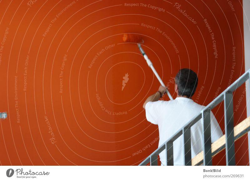 Einfach 'mal eine dezente Farbe wählen Mensch Mann Haus Erwachsene Leben Wand Mauer Innenarchitektur orange Arbeit & Erwerbstätigkeit Wohnung Treppe maskulin