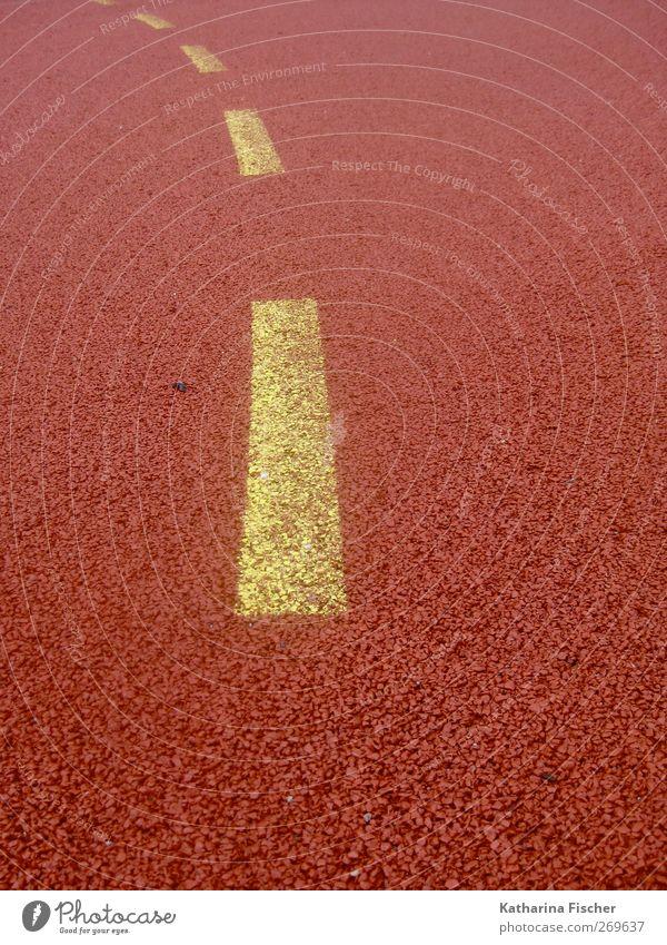 Gelb sucht Blau Sportstätten Fußballplatz Wege & Pfade gelb orange rot Handballspielfeld Richtung richtungweisend Linie graphisch Muster Sportplatz Bodenbelag