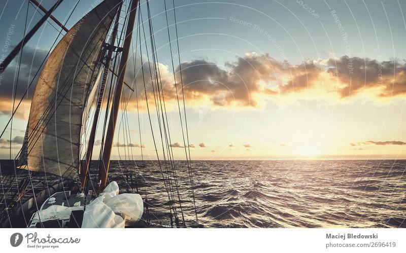 Alter Schoner segelt bei Sonnenuntergang. Lifestyle Ferien & Urlaub & Reisen Abenteuer Freiheit Expedition Meer Wellen Segeln Himmel Horizont Wind Schifffahrt