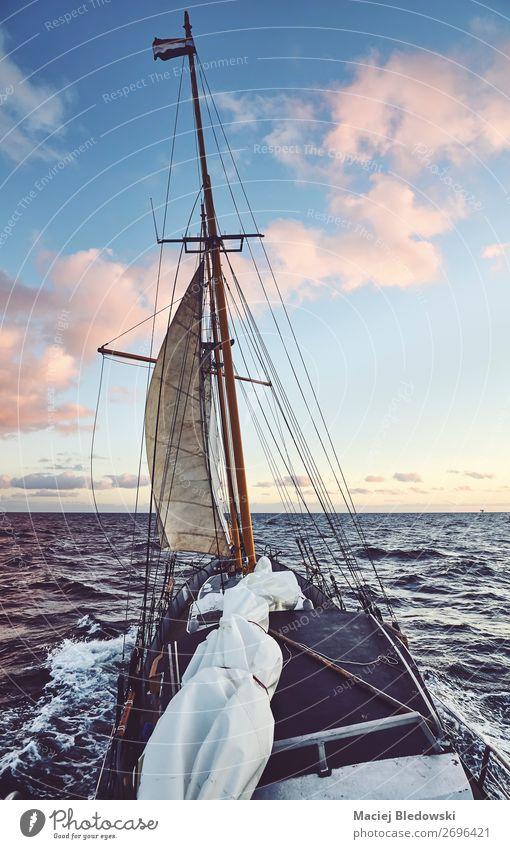 Alter Schoner segelt bei Sonnenuntergang. Lifestyle Ferien & Urlaub & Reisen Abenteuer Ferne Freiheit Kreuzfahrt Meer Wellen Segeln Himmel Horizont Wind Sturm