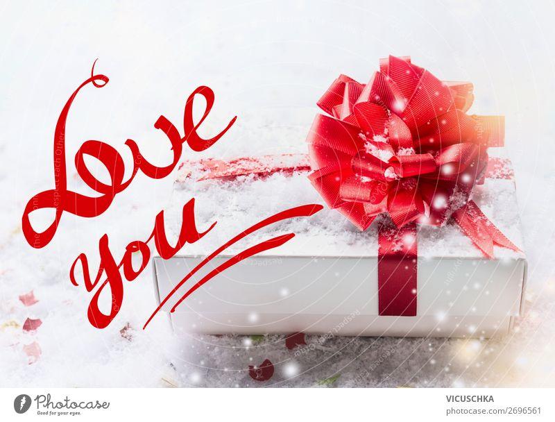 Love you Text mit weißer Geschenkbox und rote Schleife Stil Design Dekoration & Verzierung Party Feste & Feiern Valentinstag Herz Fahne Liebe Gefühle Postkarte