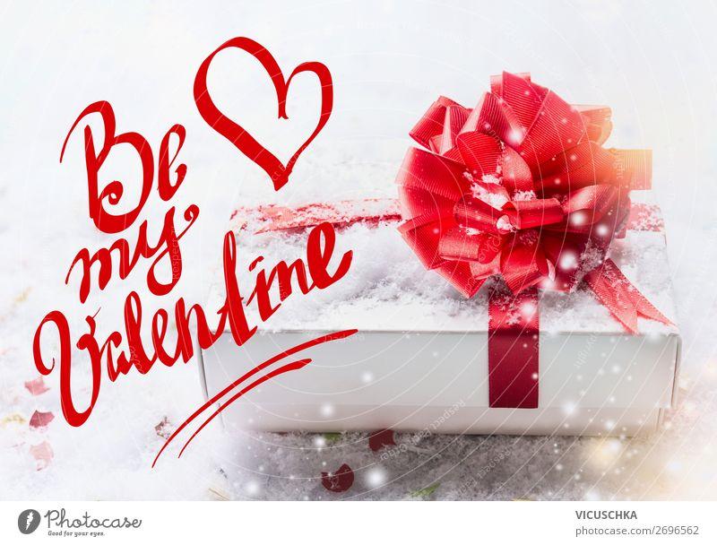 Valentinskarte. Be my Valentine mit Geschenk Stil Design Dekoration & Verzierung Feste & Feiern Valentinstag Schleife Herz Liebe Text Mitteilung