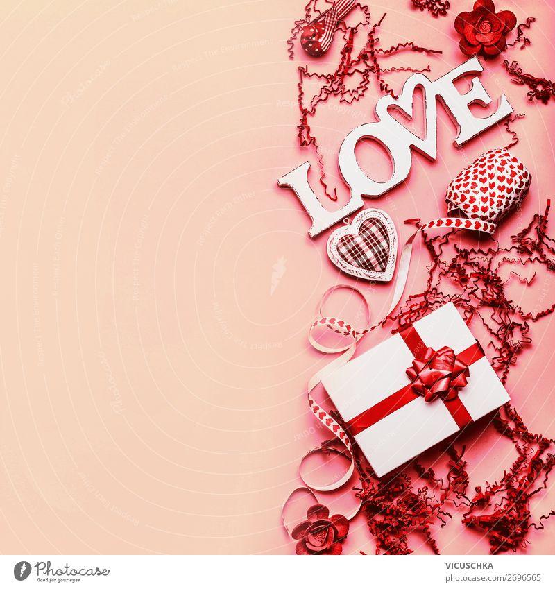Valentinstag Hintergrund mit Geschenk und Liebe kaufen Stil Design Dekoration & Verzierung Party Veranstaltung Feste & Feiern Schleife Ornament Herz trendy rot