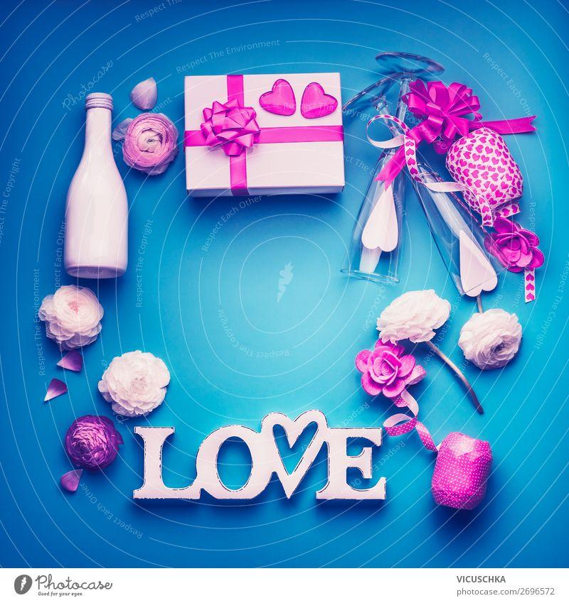 Valentinstag Hntergrund Rahmen in Neon Farben kaufen Stil Design Party Veranstaltung Feste & Feiern Blume Rose Dekoration & Verzierung Liebe violett rosa