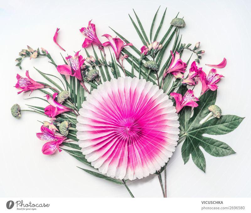 Tropische Blumen Composing Ferien & Urlaub & Reisen Natur Sommer Pflanze grün weiß Blatt Hintergrundbild Stil Party rosa Design Dekoration & Verzierung Wellness