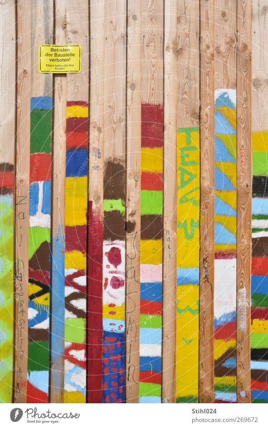 Bretterzaun Design Freude Baustelle Kunst Gemälde Mauer Wand Holz Schilder & Markierungen Hinweisschild Warnschild Arbeit & Erwerbstätigkeit bauen mehrfarbig