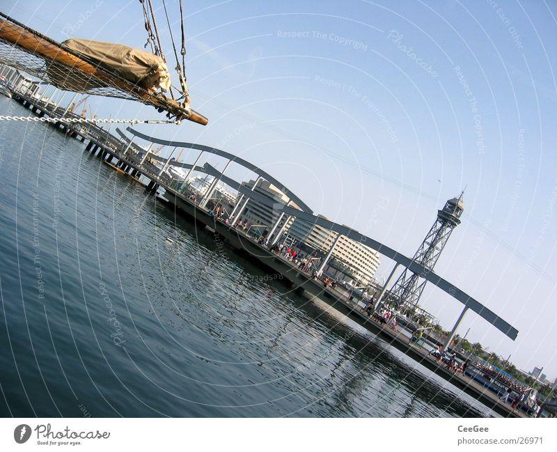 Hafen von Barcelona Wasser Himmel Meer blau Wasserfahrzeug Europa Turm Hafen Steg Spanien Anlegestelle Barcelona