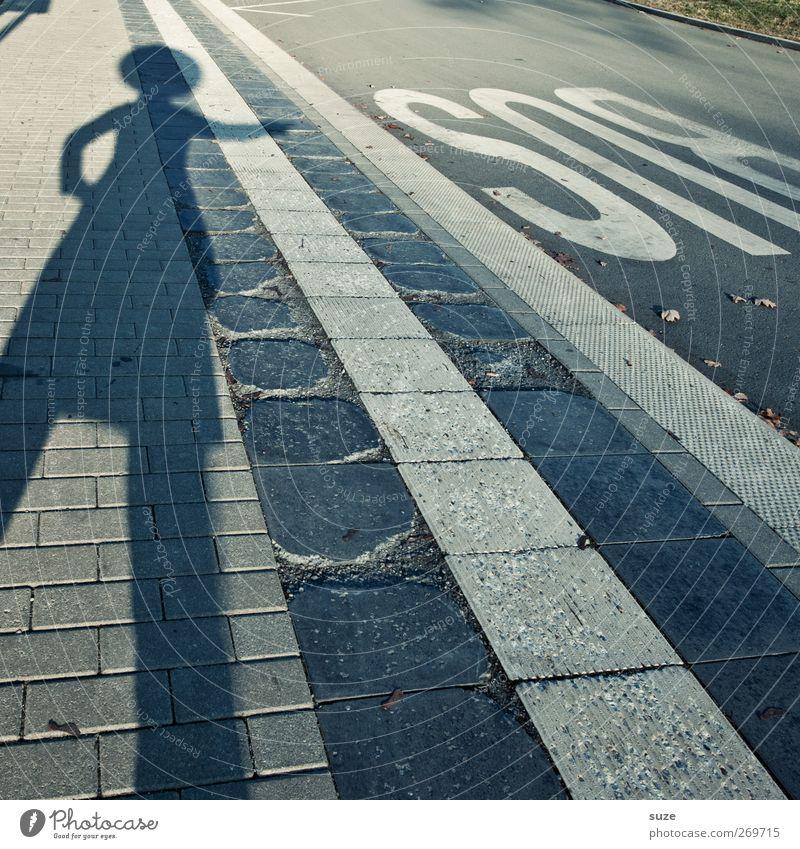 Business Mensch Straße Wege & Pfade grau lustig Körper Verkehr Streifen Buchstaben Fußweg Bürgersteig Typographie Verkehrswege Humor Personenverkehr Fußgänger
