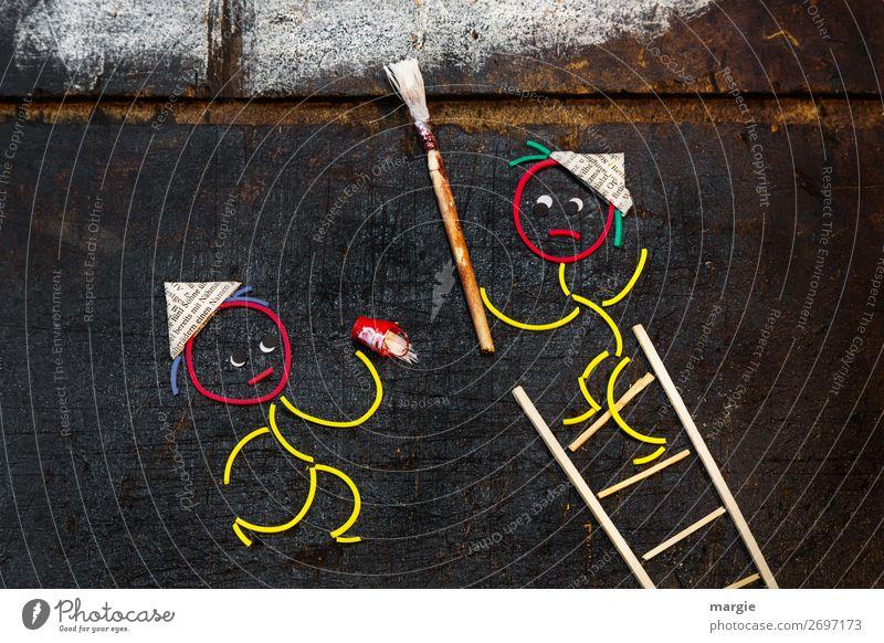 Immer an der Wand lang | ...streichen! Arbeit & Erwerbstätigkeit Beruf Handwerker Anstreicher Arbeitsplatz Baustelle Mittelstand sprechen Mensch maskulin