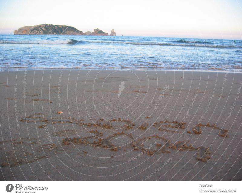 Spanien 2004 Wasser Meer Strand Sand Wellen Europa Insel Schriftzeichen Mittelmeer