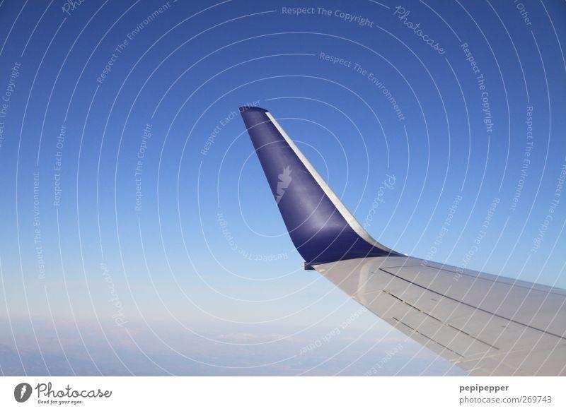 Wings Ferien & Urlaub & Reisen Tourismus Pilot Maschine Luftverkehr Himmel Wolkenloser Himmel Flugzeug Passagierflugzeug Flugzeugausblick fliegen blau