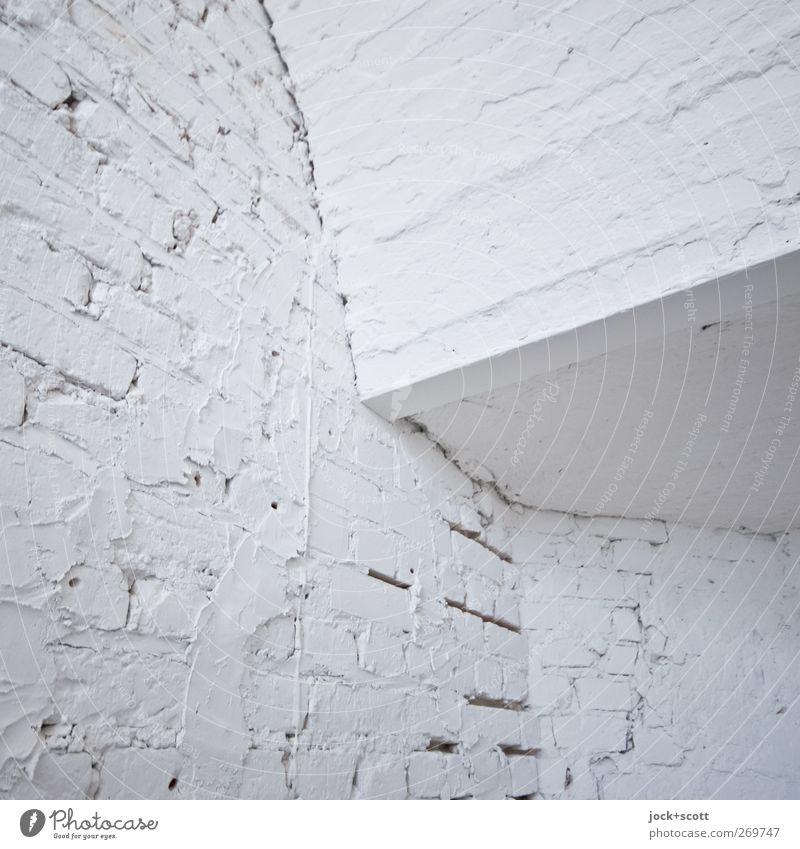 Ich weiß, dass ich nichts weiß Mauer Wand Treppenhaus Stein Linie eckig einfach hell Sauberkeit Einigkeit Reinlichkeit Reinheit ästhetisch Farbe Netzwerk