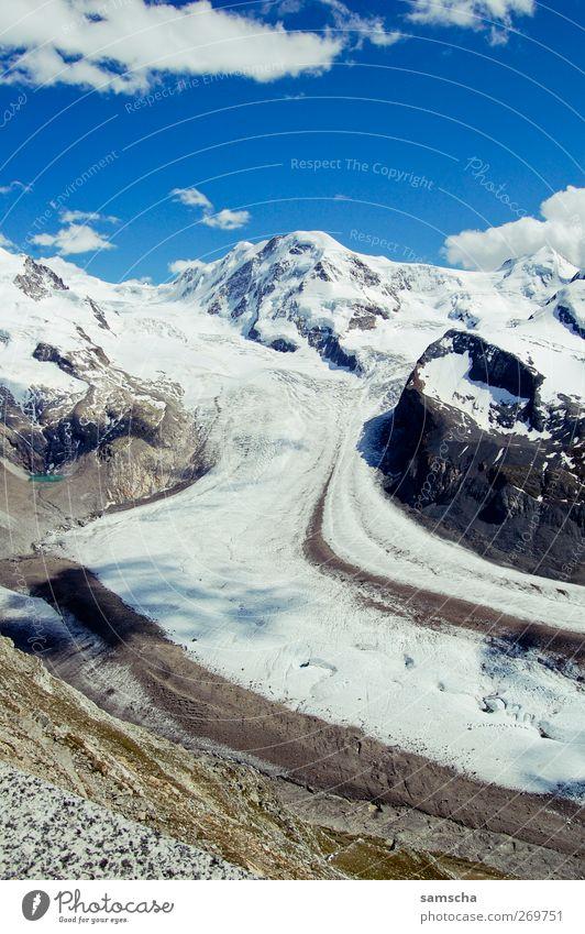 snowy land wandern Natur Landschaft Himmel Wolken Klima Klimawandel Wetter Schönes Wetter Schnee Felsen Alpen Berge u. Gebirge Gipfel Schneebedeckte Gipfel blau