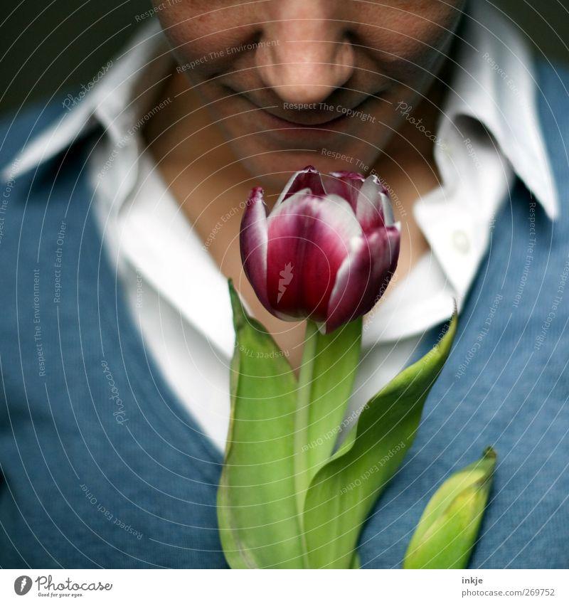 Mama freut sich Mensch schön Freude Erwachsene Liebe Leben Gefühle Stimmung Romantik Lächeln Freundlichkeit Blühend Lebensfreude Duft Tulpe Geruch