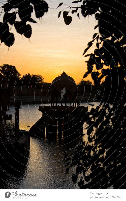 wie gemalt Ferien & Urlaub & Reisen Tourismus Sightseeing Natur Wasser Teich See Jaisalmer Indien Asien Perspektive Gadi Sagar Gadisar Gadi Sagar See