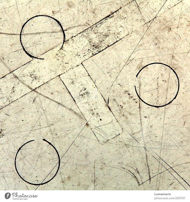 Zeichensprache alt Linie dreckig Ordnung Schilder & Markierungen Kreis Bodenbelag Ecke rund einfach Spuren trashig Partnerschaft Symmetrie Geometrie
