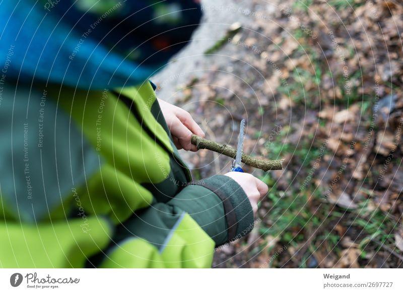 Schnitzmesser Kindererziehung lernen Junge gebrauchen grün wandern schnitzen Messer Klappmesser Natur Wald Säge Ast ferienlager Farbfoto Außenaufnahme
