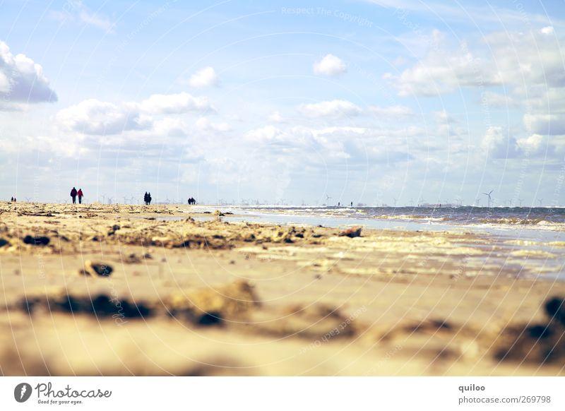 Strand und mehr Himmel blau Ferien & Urlaub & Reisen Sonne Sommer Meer Wolken ruhig Erholung Ferne Horizont braun Wellen Zufriedenheit gold