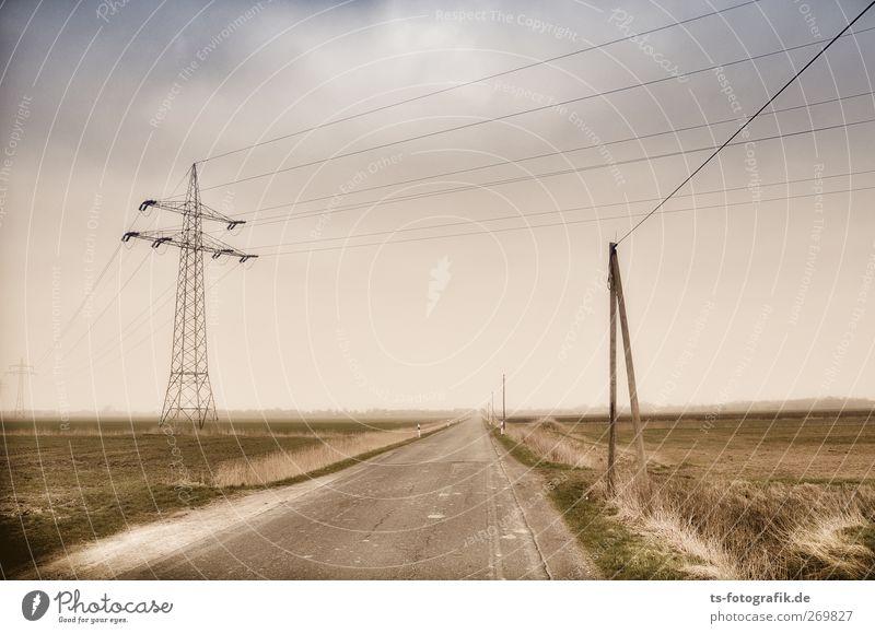 Linientreu Umwelt Natur Landschaft Himmel Wolken Gewitterwolken Horizont Frühling Herbst schlechtes Wetter Gras Straße Wege & Pfade braun grau grün Langeweile