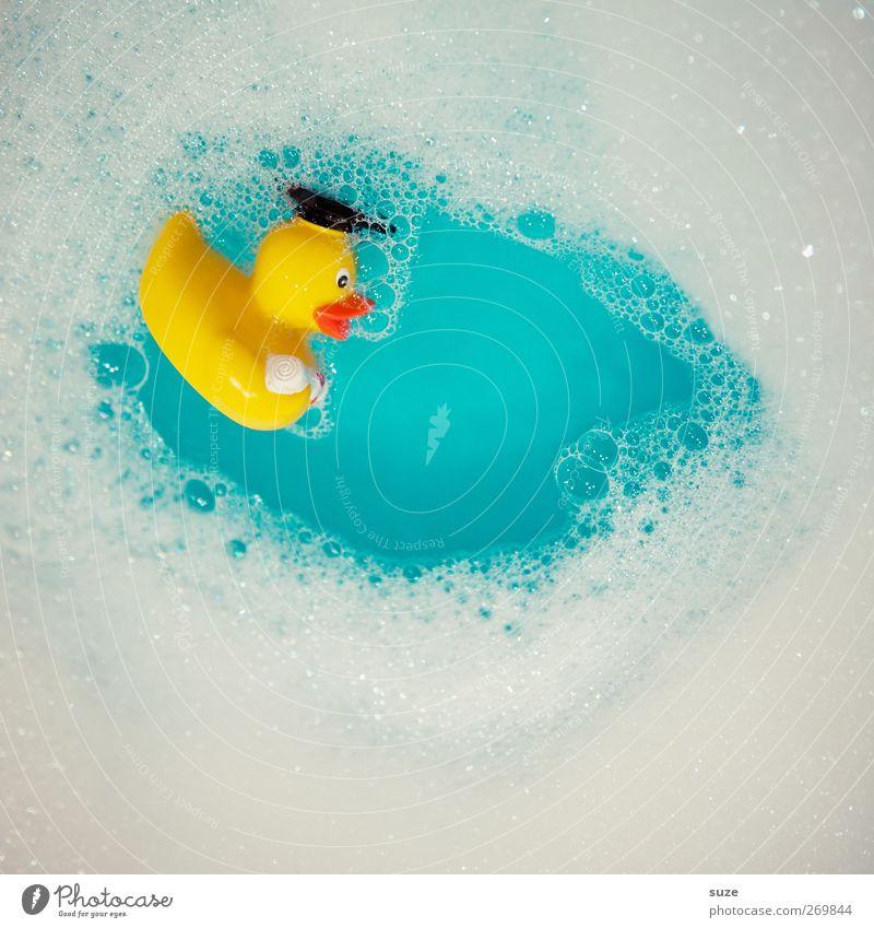 Stabile Seifenlage blau Wasser weiß Freude gelb lustig klein Schwimmen & Baden liegen Kindheit Badewanne niedlich Spielzeug Im Wasser treiben Ente Schaum