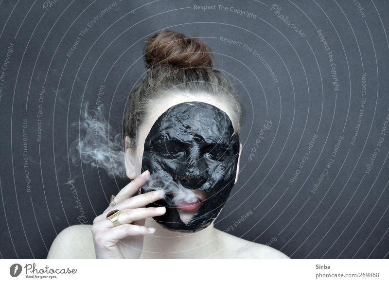 rauchiges Maskenspiel*2 Mensch Jugendliche weiß schwarz Gesicht feminin Haare & Frisuren Kopf Körper Junge Frau Haut Rauchen Maske brünett langhaarig