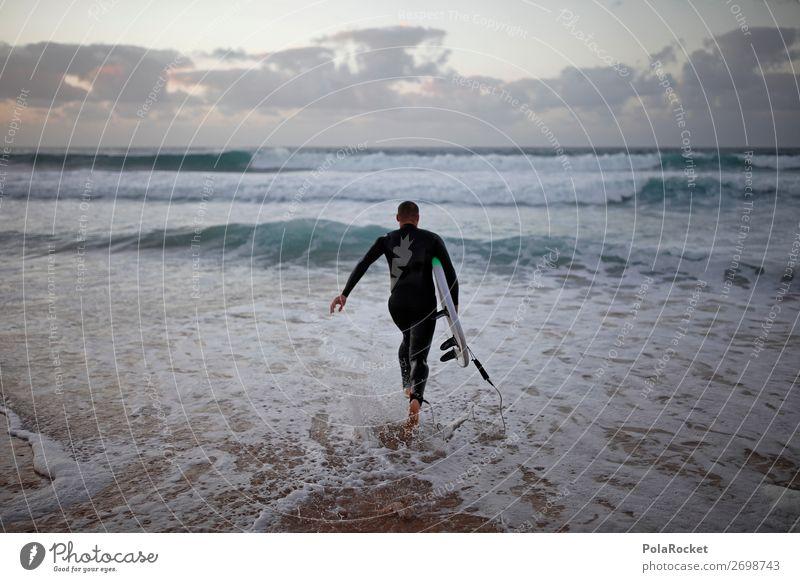 #AS# RUN Kunst ästhetisch Surfen Surfer Surfbrett Surfschule Meer laufen eintreten Neoprenanzug Wassersport Farbfoto mehrfarbig Außenaufnahme Detailaufnahme