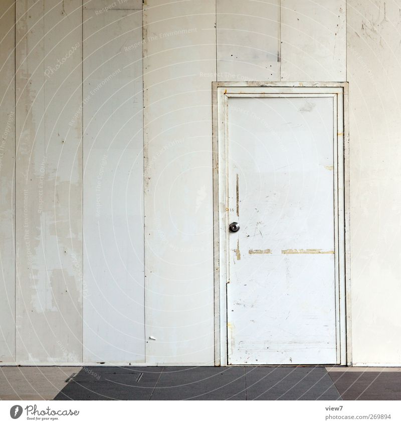 Zugang Häusliches Leben Renovieren Umzug (Wohnungswechsel) einrichten Innenarchitektur Haus Mauer Wand Tür Metall Linie Streifen alt authentisch einfach frisch