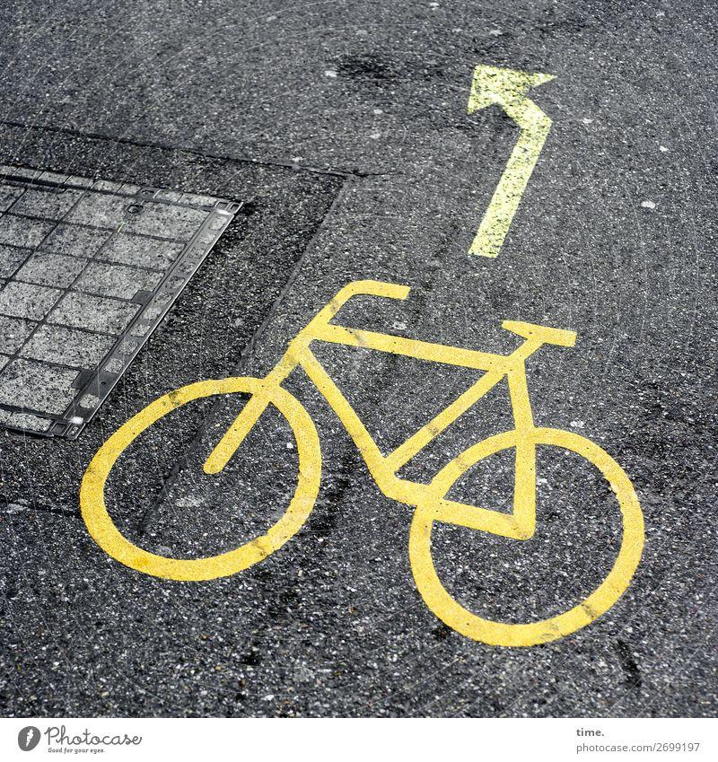 Bike Challenge Basel Verkehr Verkehrswege Fahrradfahren Straße Wege & Pfade Verkehrszeichen Verkehrsschild Asphalt Teer Gully Linie Pfeil Stadt Schutz