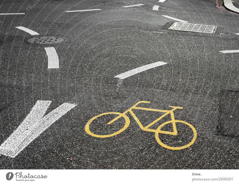 alles klar | on the road again Verkehr Verkehrswege Fahrradfahren Straße Wege & Pfade Verkehrszeichen Verkehrsschild Asphalt Teer Farbstoff Gully Stein Beton