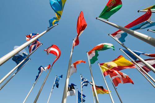 International Europa Fahne Zeichen Frieden Gesellschaft (Soziologie) Wirtschaft Wolkenloser Himmel Politik & Staat international Vielfältig weltweit