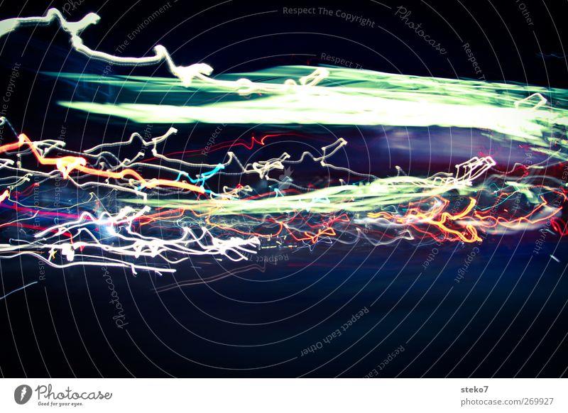 nachtspuren Straßenverkehr Bewegung Geschwindigkeit modern London Lichteffekt Verkehr Spuren Farbfoto Außenaufnahme Menschenleer Textfreiraum unten Nacht